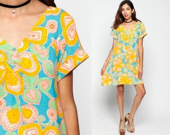 60s Mod Dress 70s Floral Print PSYCHEDELIC Mini Hippie 1960s Mod Shift Boho Vintage Tunic Turquoise Yellow Short Sleeve Medium