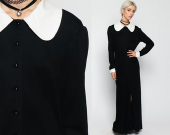 Gothic Dress 60s Maxi Black White Slit PETER PAN Collar Mod Shift 1960s Goth Wednesday Addams Vintage Lolita Gogo Long Sleeve Medium LArge