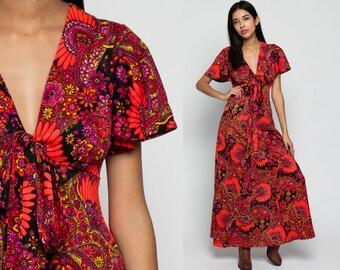 Boho Hippie Dress 70s PSYCHEDELIC Maxi Paisley Print Long Flutter Sleeve Neon 1970s Bohemian Vintage Empire Waist Orange Medium