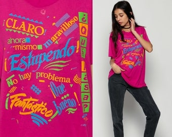 Spanish Shirt Retro TShirt QUE PASA Espanol Vintage Graphic Tshirt Burnout T Shirt 80s Travel Paper Thin Tee Deep Pink Extra Large xl
