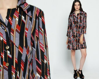 Shirtdress Mini Dress 70s Shift Mod Striped Button Up Long Sleeve Vintage 1970s Collared Twiggy Grey Black Red Large