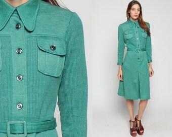 70s Dress Mod Button Up BELTED Midi 1970s Peter Pan Collar High Waist Knit Retro Seafoam Green Long Sleeve Pocket Sheath Pleated Large