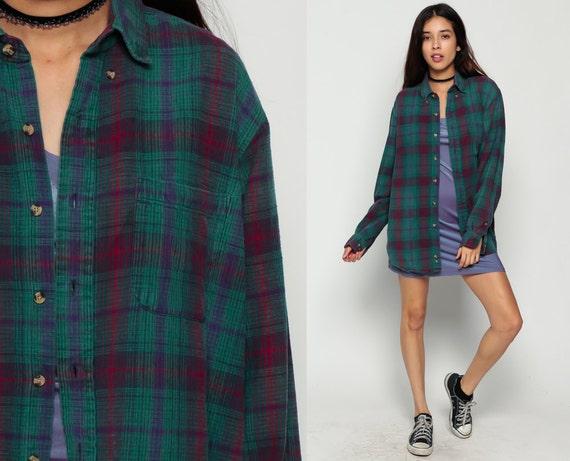 Plaid flannel shirt button up 90s grunge green flannel red for Button up flannel shirts