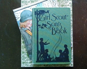 Girl Scout Song Book 1929 Music Words Hardcover Silhouette Graphic Design