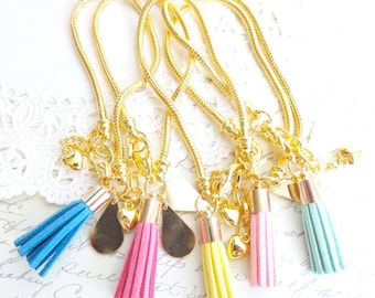 Gold Tassel Bracelet - Gold Snake Chain Charm Bracelet - Suede Tassel Bracelet - Gold Charm Bracelet - Pink Tassel Bracelet
