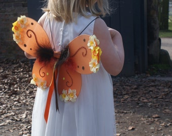 SALE Orange fairy wings, child/adult, festival, party, butterfly wings