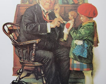 Doctor and Doll/Speed Trap, Norman Rockwell Magazine Cover Prints, 2-Sided Vintage Book Page, Unframed Color Plate, 1979