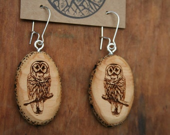 Wooden Owl Earrings- Sustainable Wood Jewelry- Juniper Wood Owl Earrings- Natural Wood Jewelry- Eco Earrings