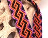 Friendship bracelet - Black, orange, & purple