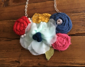 Blue, Red, Pink, & Yellow Fabric Statement Necklace, Rolled Rosette Necklace, Bib Necklace