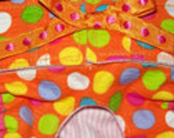 Dog Diapers, Panties, or Britches Bright Polka Dots on Orange Plisse
