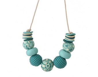 Chunky Statement Necklace - Turquoise Bead Necklace - Modern Jewelry - Big Bold Necklace - Beaded Necklace, Womens Necklace, Gifts for Her