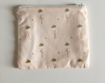 Flamingos pink and gold Wet bag/Snack bag with waterproof lining