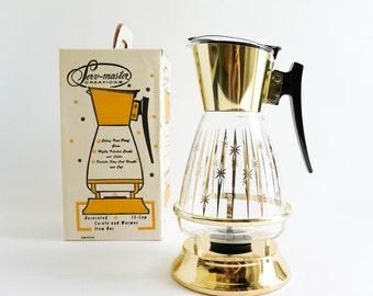 Vintage 1960s Carafe / 60s Serv Master Colony Glass Carafe with Warmer in Box NOS / Starburst Pattern, Retro Atomic Kitchen