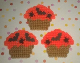 3 Handmade Bats and Spiders Cupcake Orange Magnets