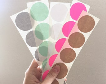"25 Sticker Dots in the color of your choice - 1.5"" round stickers"