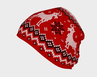 Woolly Goat Red (Printed Knit Work) - Beanie Hat - Death's Amore Clothing - From S to L
