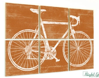 Large Road Bike Wall Art - Bicycle Print on Wood Panels - Custom Made Bike Decor