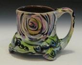 big footed mug with circles green yellow purple lilac black / extra large mug