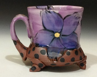 Purple flower mug with gold dots and black polkadots