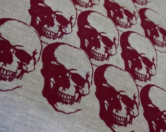 Regency Skull Red on Flax Linen Tea Towel