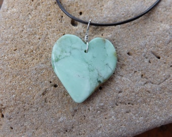 Lemon Chrysoprase heart pendant necklace - handmade in Australia - natural stone jewelry as love heart