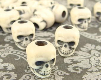 20 Skull Beads Ivory BONE Color Finish 10mm Matte Plastic Acrylic Spooky Halloween Jewelry Supplies Bulk for Bracelet Necklace Hair