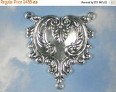 SALE 2 to 1 Pendant or Rosary Center Link Antiqued Tibetan Silver Filigree Necklace Focal Bead  (P1313)