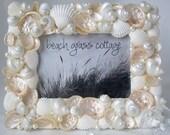"Beach Decor Pearl Shell Wedding Picture Frame - Nautical White Seashells, Abalone, & Pearls - 5x7"""