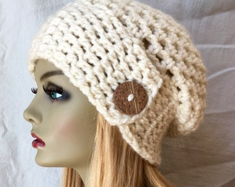 SALE Crochet Slouchy Beret, Womens Hat, Off White Cream, Pick Your Color, Soft, Chunky, Warm, Teens, Birthday Gifts for Her JE505BTBU5