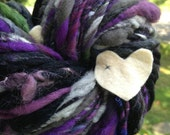 BIG Art Yarn 77 yd 6 oz skein. Handspun handmade homespun ooak super bulky and soft multicolored ooak yarn felt heart