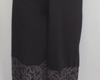 Plus Size Pant, Coco and Juan, Missy Pants, Black Mixed Fabric Panel Bubble Pant  Size XL fits 16,18