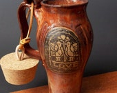 Stoneware Travel Mug With Cork ~ Lovebird Design ~