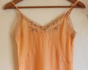1940s Peach Rayon Slip by Slim Youth