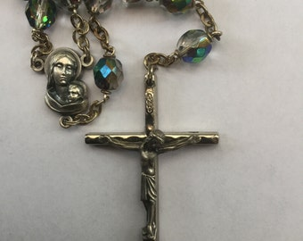 Vintage AB Aurora Borealis Glass Bead Rosary 1960s