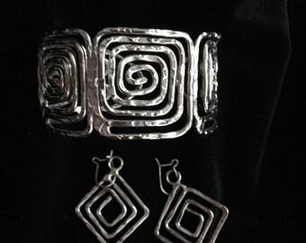 Vintage Modernist Silver Bracelet Earrings