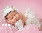 Lace Newborn Set Bonnet Pants Headband Sash READY Ship Photo Prop Spring Baby Stretch Fabric Infant Girl Coming Home Outfit Going Home Hat