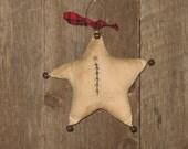 Primitive Stitchery, Star, Christmas Ornament, Primitive Ornament