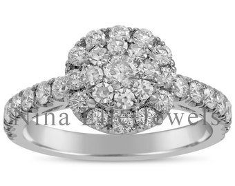 Affordable Round Cut Halo Diamond Engagement Ring With Halo ANR500