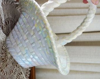 Vintage Ceramic Basket Hand Painted Woven Texture Iridescent White Large  1980s