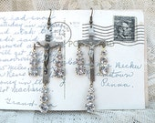 mismatch cross earrings assemblage rhinestone religious dangles