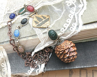 fall pine cone necklace assemblage scarab upcycle jewelry autumn