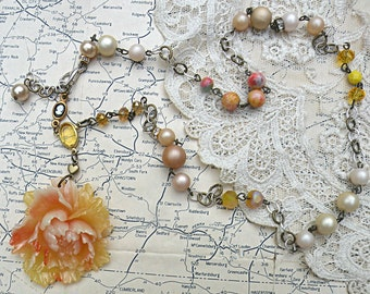 spring peony necklace assemblage upcycle jewelry beads cottage chic cameo warm honey floral