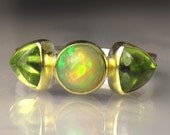 Ethiopian Opal and Peridot Ring, Opal Peridot Multistone Ring, 18k Gold and Sterling Silver Three Stone Ring