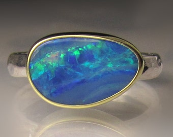 Boulder Opal Ring, 18k Yellow Gold and Sterling Silver Australian Opal Ring, Opal Ring