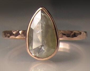14k Rose Gold Rose Cut Diamond Engagement Ring, Cut diamond Solitaire Ring, 14k Rose Gold Hammered Diamond Ring