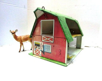 Vintage Toy Metal Barn, Happi Time by Marx, Child's Tin Lithograph Barn, Farm Sold by Sears,