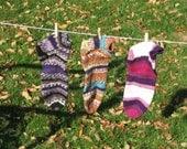 Ladies Socks are handmade in magenta, purple, or brown stripes from warm, faux wool yarn