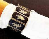 Vintage Niello Siam Damascene Bracelet, Sterling Silver and Black Enamel, Asian Oriental Jewelry, Ladies Accessories, Costume Jewelry