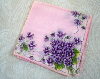 Vintage Accessory Handkerchief Pink Violet Bouquet Collectible